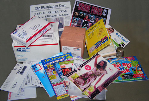 1:3 scale digital files of junk mail and newspaper