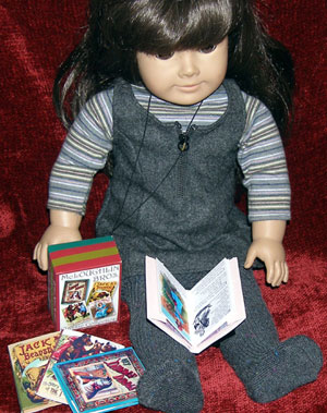 American Girl doll with DIY McLoughlin children's books