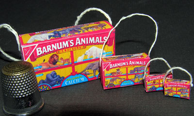 Miniature animal cracker purse boxes in many doll scales